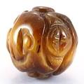 【天然石彫刻ビーズ】タイガーアイ 12mm (素彫り) 登竜紋【天然石 パワーストーン】
