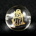 【天然石彫刻ビーズ】水晶 10mm 線彫り (金彫り) 七福神「寿老人」【天然石 パワーストーン】