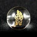 【天然石彫刻ビーズ】水晶 10mm 線彫り (金彫り) 七福神「毘沙門天」【天然石 パワーストーン】