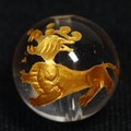 【天然石彫刻ビーズ】水晶 12mm (金彫り) 「龍生九子」七男「ヤアズ」【天然石 パワーストーン】