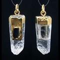 【天然石ペンダントトップ】黒トルマリン単結晶付き水晶ポイント (ゴールド)【天然石 パワーストーン】