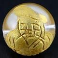 【天然石彫刻ビーズ】水晶 12mm (金彫り) 七福神「大黒天」【天然石 パワーストーン】