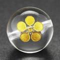【天然石彫刻ビーズ】水晶 12mm (金彫り) 戦国武将「前田慶次」【天然石 パワーストーン】