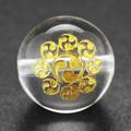【天然石彫刻ビーズ】水晶 12mm (金彫り) 戦国武将「長尾景虎」【天然石 パワーストーン】