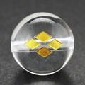 【天然石彫刻ビーズ】水晶 12mm (金彫り) 戦国武将「武田信玄」【天然石 パワーストーン】