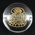 【天然石彫刻ビーズ】水晶 12mm (金彫り) 八大観音「文殊菩薩」【天然石 パワーストーン】