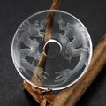 【天然石置き石】ドーナツ型(ピーディスク) 30mm 水晶彫刻 双龍 (素彫り)【天然石 パワーストーン】