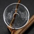 【天然石置き石】ドーナツ型(ピーディスク) 30mm 水晶彫刻 龍亀(ろんぐい) (素彫り)【天然石】