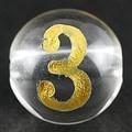 【天然石彫刻ビーズ】水晶 8mm (金彫り) 数字「3」 (横穴)【天然石 パワーストーン】