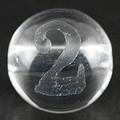 【天然石彫刻ビーズ】水晶 8mm (素彫り) 数字「2」【天然石 パワーストーン】