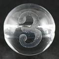 【天然石彫刻ビーズ】水晶 8mm (素彫り) 数字「3」【天然石 パワーストーン】