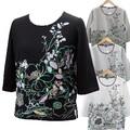 花柄七分袖綿100%Tシャツ【M〜L/LL】【4色展開】