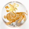 【天然石彫刻ビーズ】水晶 14mm (金彫り) ヤアズ【天然石 パワーストーン】