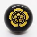 【天然石彫刻ビーズ】オニキス 14mm (金彫り) 戦国武将「織田信長」(縦穴)【天然石 パワーストーン】