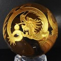 【天然石彫刻置物】四神獣 丸玉 水晶 45〜50mm (金彫り)【天然石 パワーストーン】