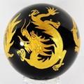 【天然石彫刻置物】オブシディアン丸玉 四神獣(金彫り) 50mm【天然石 パワーストーン】