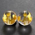 【天然石彫刻ビーズ】水晶 12mm (金彫り) 双天使【天然石 パワーストーン】