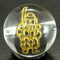 【天然石彫刻ビーズ】水晶 12mm 線彫り (金彫り) 七福神 「毘沙門天」【天然石 パワーストーン】