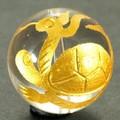 【天然石彫刻ビーズ】水晶 18mm (金彫り) 玄武【天然石 パワーストーン】