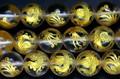 【天然石彫刻ビーズ】水晶 10mm (金彫り) 朱雀 (一連売り)【天然石 パワーストーン】