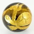 【天然石彫刻ビーズ】タイガーアイ 12mm (金彫り) 玄武【天然石 パワーストーン】