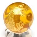 【天然石彫刻置物】丸玉 シトリン20mm (金彫り) 五爪龍【天然石 パワーストーン】
