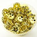 【パーツ】花型ロンデル 金色 [100個セット]【天然石 パワーストーン】