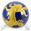 【天然石彫刻置物】丸玉 ラピスラズリ 五爪龍 (金彫り) 約40mm【天然石 パワーストーン】