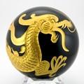 【天然石彫刻置物】丸玉 オブシディアン約100mm 四神獣セット(金彫り)【天然石 パワーストーン】