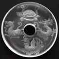 【天然石置き石】ドーナツ型(ピーディスク) 25mm 水晶彫刻 四神獣 (素彫り)【天然石 パワーストーン】