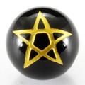 【天然石彫刻ビーズ】オニキス 12mm (金彫り) 五芒星【天然石 パワーストーン】