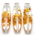 【天然石彫刻ビーズ】水晶 (金彫り) 五爪龍 「太鼓型」 4cm【天然石 パワーストーン】