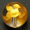 【天然石彫刻ビーズ】水晶 16mm (金彫り) 双天使【天然石 パワーストーン】