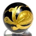 【天然石彫刻置物】丸玉 オニキス20mm (金彫り) 玄武【天然石 パワーストーン】