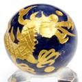 【天然石彫刻置物】丸玉 ソーダライト20mm (金彫り) 五爪龍【天然石 パワーストーン】