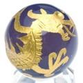【天然石彫刻置物】丸玉 ブルーメノウ20mm (金彫り) 青龍【天然石 パワーストーン】