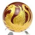 【天然石彫刻置物】丸玉 レッドメノウ20mm (金彫り) 朱雀【天然石 パワーストーン】