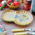 ポルトガル製 陶器 手描き レモン オリーブ柄 食器 皿 プレート モーニングプレート イエロー