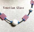 ★【イタリア製】本物のヴェネチュアングラス!手作りネックレス(イタリアベネチアングラス)