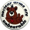 NO. BC-003 NUCLEAR ARMS ARE UNBEARABLE 38mm 輸入メッセージ 缶バッジ