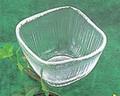 《日本製》なぎさ 角型(角豆鉢)【ガラス 鉢】【ハンドメイド】
