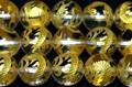 【天然石彫刻ビーズ】水晶 10mm (金彫り) 青龍 (一連売り)【天然石 パワーストーン】