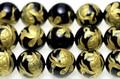 【天然石彫刻ビーズ】オニキス 10mm (金彫り) 玄武 (一連売り)【天然石 パワーストーン】