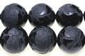 【天然石彫刻ビーズ】オニキス 16mm (素彫り) 玄武 (一連売り)【天然石 パワーストーン】