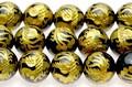 【天然石彫刻ビーズ】オニキス 8mm (金彫り) 朱雀 (一連売り)【天然石 パワーストーン】