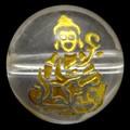 【天然石彫刻ビーズ】水晶 10mm (金彫り) 八大観音「虚空蔵菩薩」【天然石 パワーストーン】