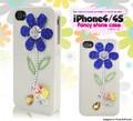 <スマホケース>iPhone4/4S(アイフォン)ファンシーデコケース(ブルーフラワー)