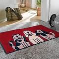 【直送可】【洗える玄関マット】アニマル柄 3匹の犬(いぬ)が玄関で可愛くお出迎え