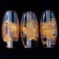 【天然石彫刻ビーズ】水晶 (金彫り) 鳳凰 「太鼓型」 2cm【天然石 パワーストーン】