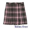 Teens Ever プリーツスカート(ピンク/チャコールグレー)